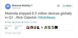 Motorola vendió 6,5 millones de dispositivos en todo el mundo en el primer trimestre de 2014