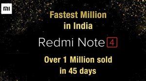 Xiaomi vendió más de 1 millón de unidades de Redmi Note 4 en India en 45 días