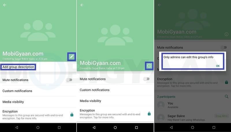 evitar que los miembros cambien la información del grupo de whatsapp guía de android 5