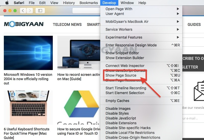 Guía de instrucciones para ver el código fuente de la página en el navegador Safari en tu Mac 3