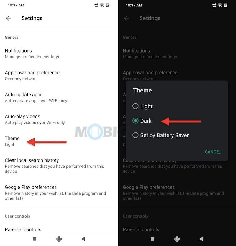 Modo oscuro Google Play Store 1