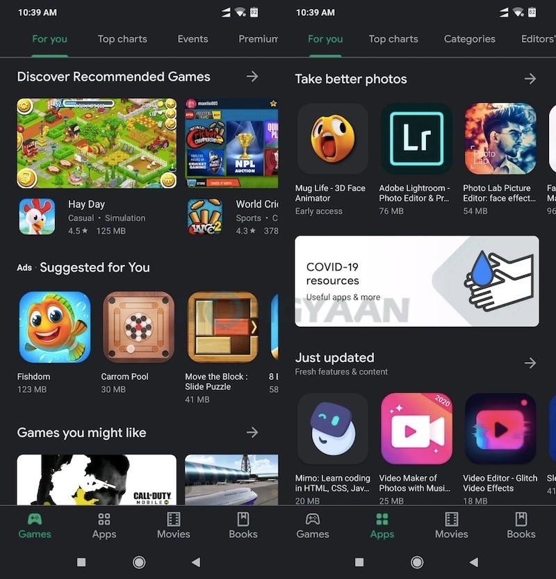 Modo oscuro Google Play Store 2