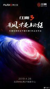 El teléfono inteligente para juegos Nubia Red Magic 3 se lanzará el 28 de abril