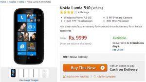 Actualización: Nokia Lumia 510 listado en Flipkart por Rs.9,999