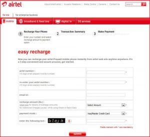 Ahora recarga tu móvil Airtel a través de airtel.in