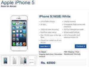 Aircel comienza a tomar pedidos anticipados para el iPhone 5 a Rs.45,550 por 16 GB