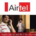 Airtel presenta Night Pack.  Llamadas locales A2A en Re.1 durante 20 minutos