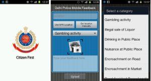 Aplicación de Android de retroalimentación móvil de la policía de Delhi