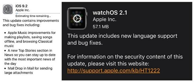Versión de iOS 9.2 y watchOS 2.1