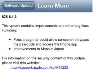 Apple lanza la actualización de iOS 6.1.3
