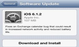 Apple lanza la actualización iOS 6.1.2;  correcciones de errores para el calendario de Exchange