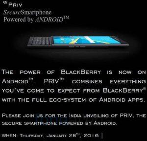 BlackBerry Priv se lanzará en India el 28 de enero