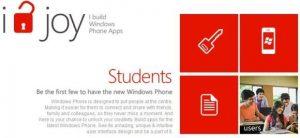 Campaña de desarrollo de aplicaciones para estudiantes de Microsoft, gane un teléfono inteligente WP y extras