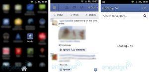 Capturas de pantalla de la ventana emergente renovada de Facebook para Android, también incluye 'Cercano'