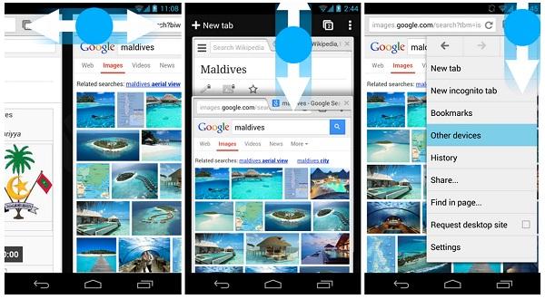 Gestos de deslizamiento de Chrome para Android