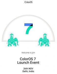 ColorOS 7 está listo para lanzarse en India el 26 de noviembre