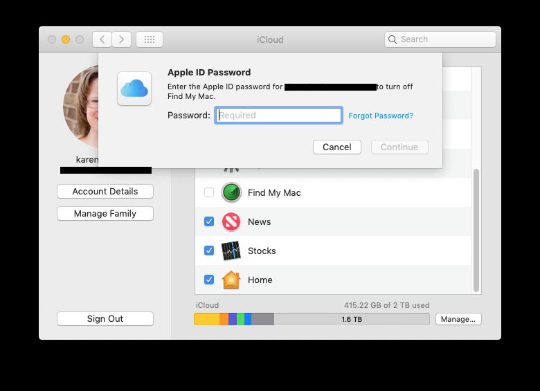 Buscar mi iPhone Mac apagar