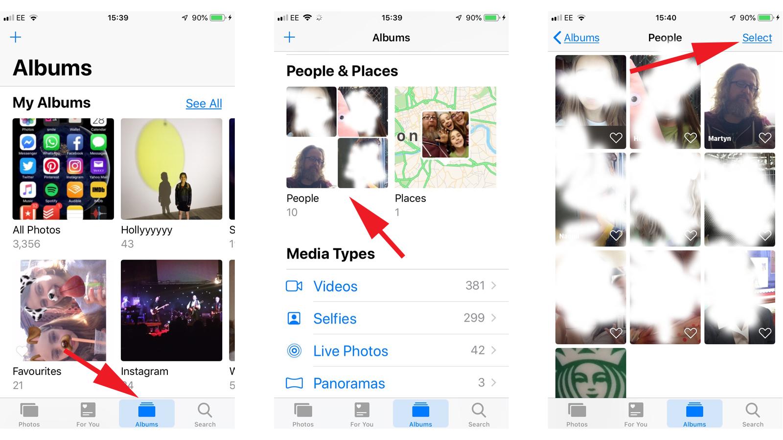Cómo corregir caras identificadas incorrectamente en fotos de iPhone: álbumes