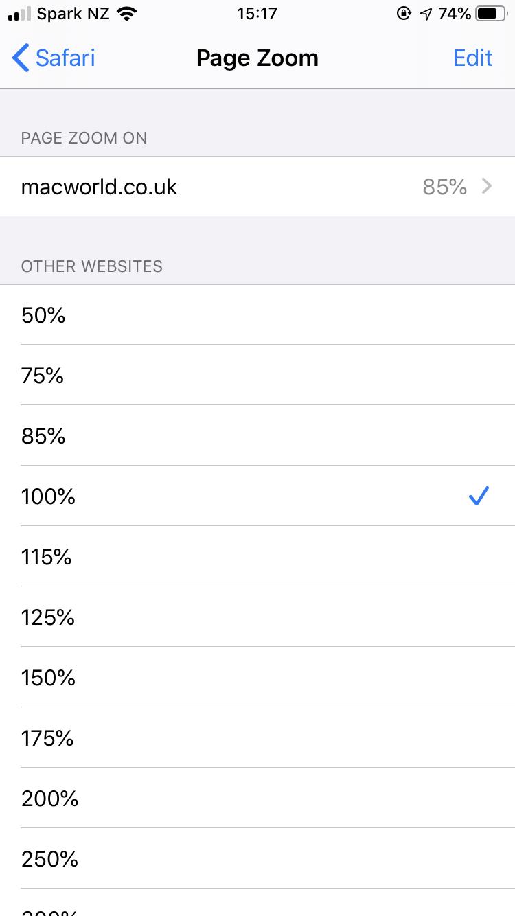 Cómo cambiar el tamaño del texto en Safari en iPhone: zoom de página