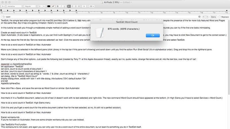 cómo contar palabras textedit mac 1200