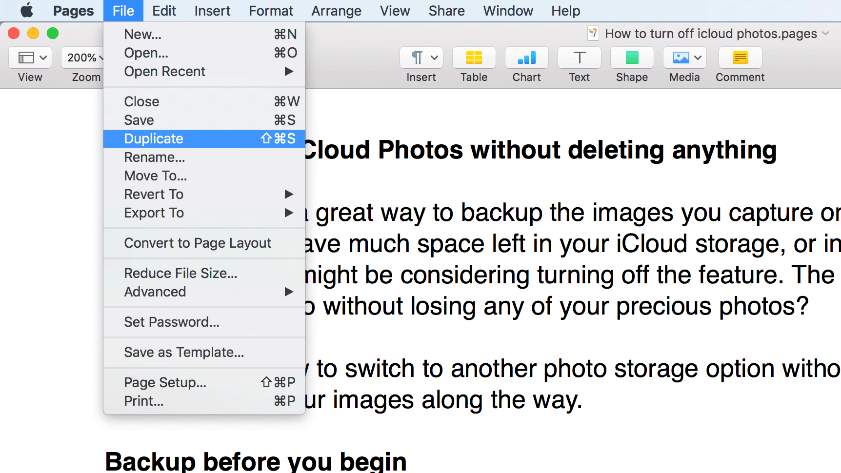 Cómo guardar como en Mac: tecla de opción