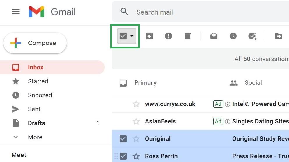 Cómo marcar todo como leído en Gmail