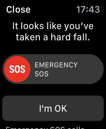 Cómo usar la detección de caídas en Apple Watch: pantalla de advertencia