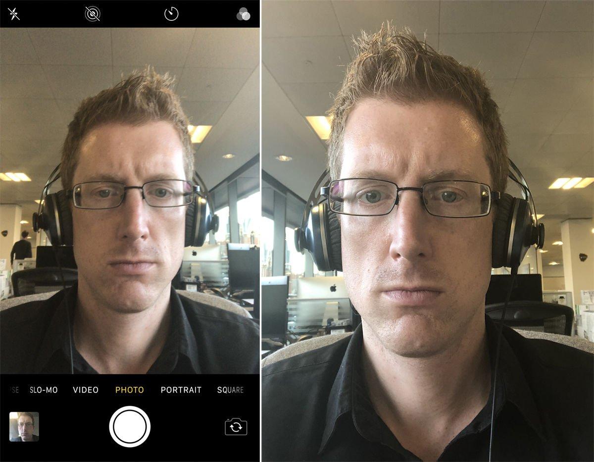 Cómo voltear una selfie de iPhone
