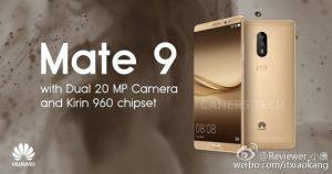 Huawei Mate 9 con configuración de cámara dual filtrada