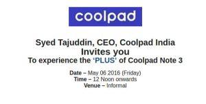 Coolpad lanzará un nuevo teléfono inteligente en India el 6 de mayo
