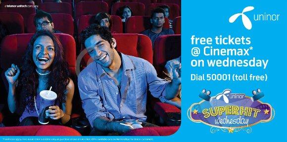 Disfrute de entradas gratuitas para el cine, cortesía de Uninor Super-Hit miércoles