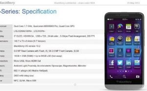 Documento filtrado revela las especificaciones de Blackberry A10