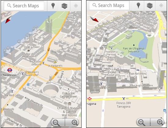Edificios 3D en Londres, París y 16 ciudades más ofrecidos por Google Maps en Android