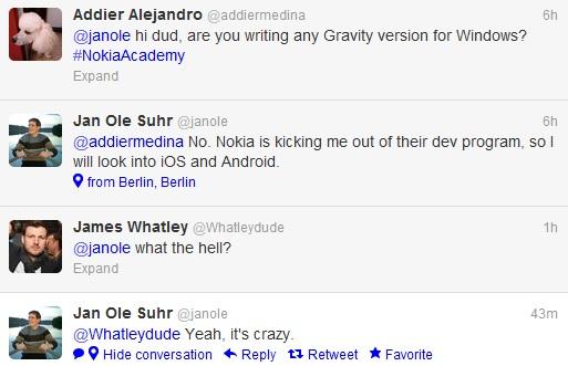 El fabricante de aplicaciones Gravity Jan Ole Suhr se niega a desarrollar para WP, expulsado del Programa de desarrollo de Nokia