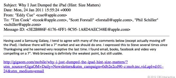 El jefe de software de iOS sugirió un iPad de 7 pulgadas en 2011