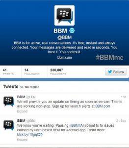 El lanzamiento de BBM iOS y Android se apaga;  en ninguna parte para ser visto