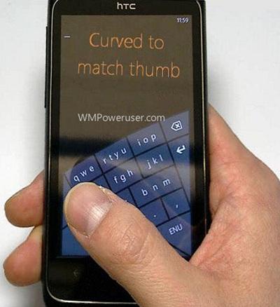 El nuevo teclado suave curvo podría llegar con Windows Phone 8