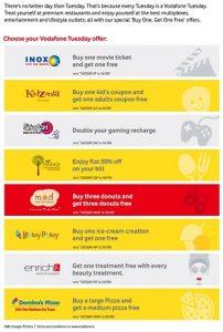 """El programa de los martes de Vodafone ofrece ofertas de """"Compre 1 y obtenga 1 gratis"""" en alimentos, compras y entretenimiento"""