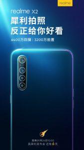 El próximo teléfono inteligente Realme X2 tiene una cámara frontal de 32 MP
