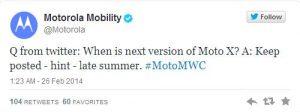 El teléfono inteligente Moto X de segunda generación podría presentarse pronto