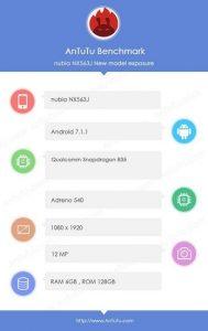 El teléfono inteligente Nubia con chipset Qualcomm Snapdragon 835 visto en los puntos de referencia