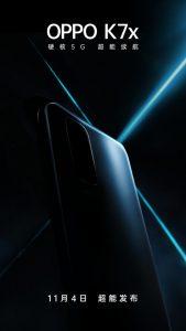 El teléfono inteligente OPPO K7x 5G será oficial el 4 de noviembre