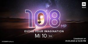 El teléfono inteligente insignia Xiaomi Mi 10 se lanzará en India el 31 de marzo