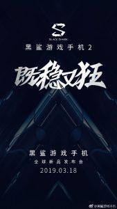 El teléfono inteligente para juegos Black Shark 2 de Xiaomi se lanzará el 18 de marzo
