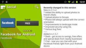 Facebook en Android actualizado a v1.5.2