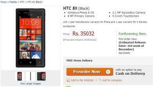 Flipkart comienza a tomar pedidos anticipados para Windows Phone 8 con HTC 8X por Rs. 35,032