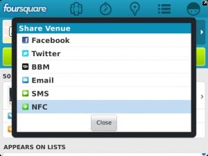 Foursquare para BlackBerry se actualiza y trae capacidades NFC