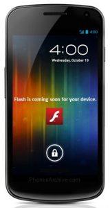 Galaxy Nexus recibirá soporte para Adobe Flash y AIR en diciembre