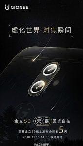 Gionee S9 con configuración de cámara trasera dual que se dará a conocer el 15 de noviembre