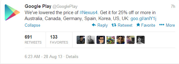 Reducción de precio de Nexus-4